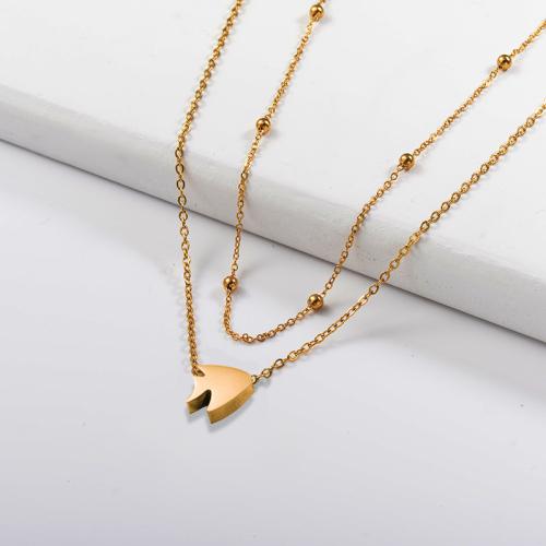 Collar de capas de oro de animales pequeños de moda