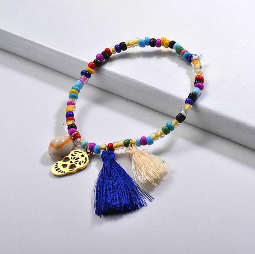 Perle colorée perlée Bracelets Nature Shell Crâne en acier inoxydable Charme Glands Bijoux