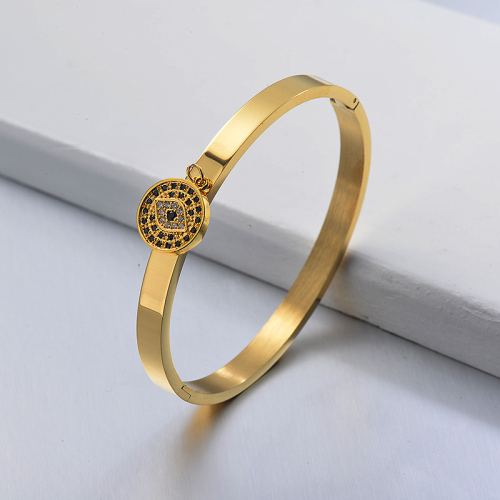 Gold Plated Copper Evil Eye Pendant Simple Style Stainless Steel Bangle