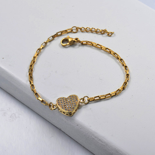 Classic Heart Diamond Pendant Rectangle Shape Link Chain Gold Plated Jewelry