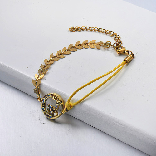 Animal Gold Plated Fishbone Link Chain Yellow Leather String Bracelet
