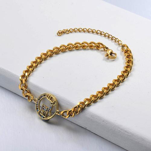 Pulsera de cadena de eslabones cubanos con colgante de animal bañado en oro