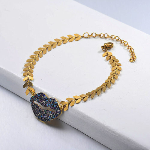 Fishbone Link Chain Diamond Lip Pendant Gold Plated Bracelet