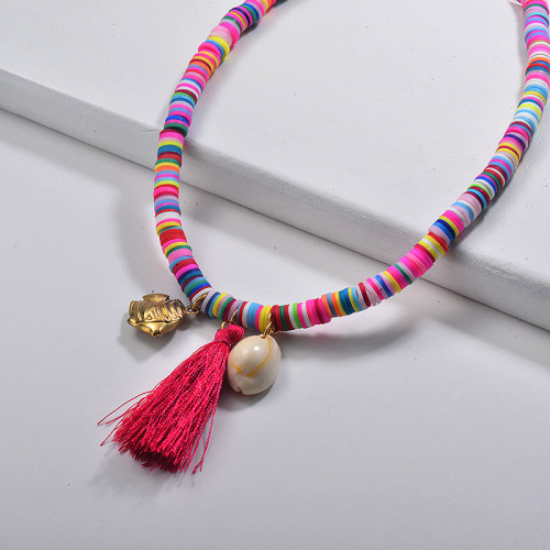 Summer Design Puka Shell Collar de borlas largas rojas con cuentas coloridas