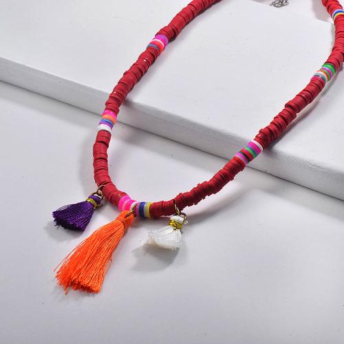 Collar de cuentas de colores rojos estilo bohemia con borlas para el verano
