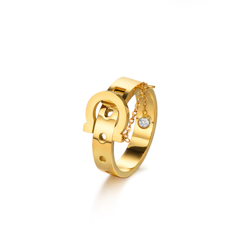 Wholesale Stainless Steel Fashion Gold Hollow Wedding Ring