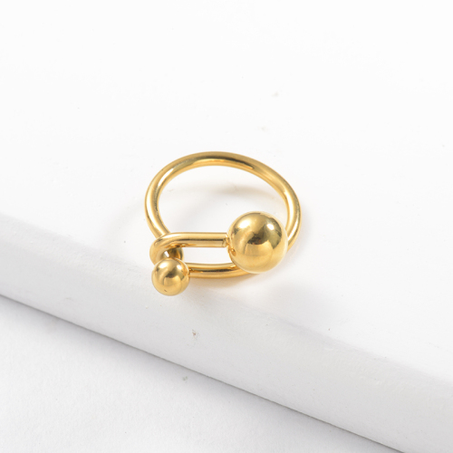Wholesale Stainless Steel Fashion Gold Plated Bead Wedding Ring