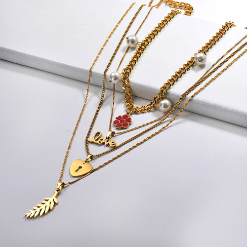 Colgante vendedor caliente del corazón del amor de la hoja de la flor del oro con el collar de múltiples capas de la perla