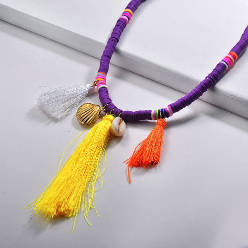 Collar de gargantilla de borla larga con cuentas de colores púrpura concha natural de joyería de verano