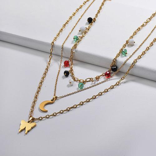 Colgante dorado de luna y mariposa con collar multicapa con cuentas de cristal