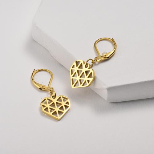 Bijoux plaqués or Design fait main Boucles d'oreilles coeur doré en acier inoxydable