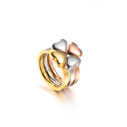 Wholesale Stainless Steel Fashion Gold Plated Heart Wedding Ring Sets
