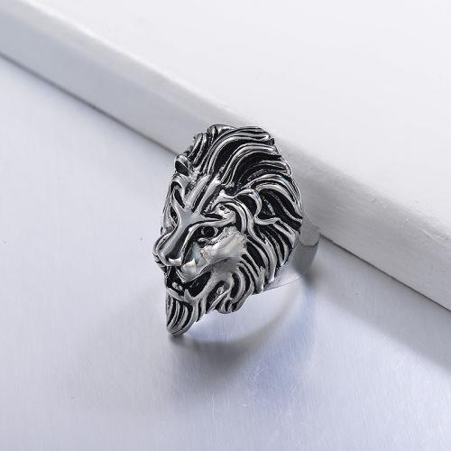 anillo de león moda en acero plateado inoxidable -SSRGG971658