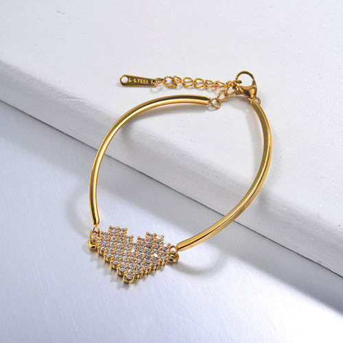 Pulsera chapada en oro con delicada forma de corazón de cobre con racimo de circonitas Pendany