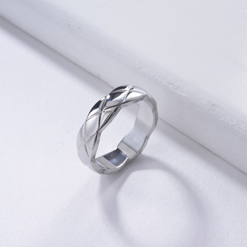 Wholesale Stainless Steel Fashion Silver Plated Simple His and Her Rings
