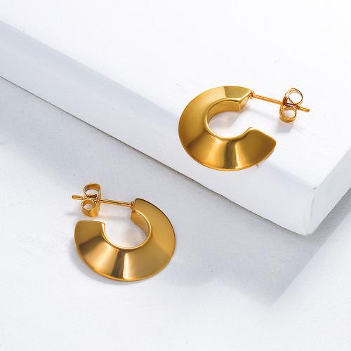 مجوهرات مطلية بالذهب أقراط من الفولاذ المقاوم للصدأ