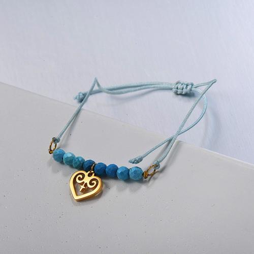 Pulsera trenzada de cuentas azules de estilo étnico simple con colgante de corazón hueco