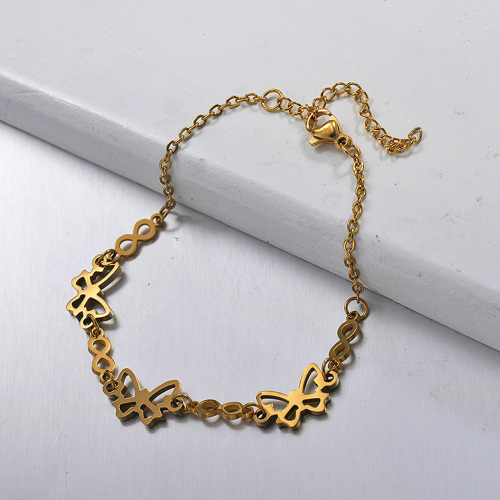 Brazalete de acero inoxidable dorado en forma de cadena con colgante redondo hueco con números romanos