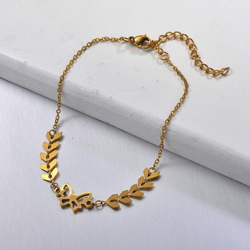 Cadena de espina de pescado de acero inoxidable dorado de moda con colgante de mariposa hueca