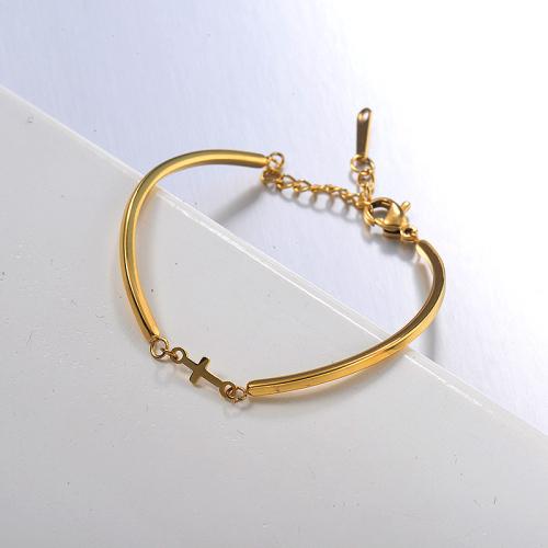 pulsera de acero inoxidable dorado con colgante de cruz