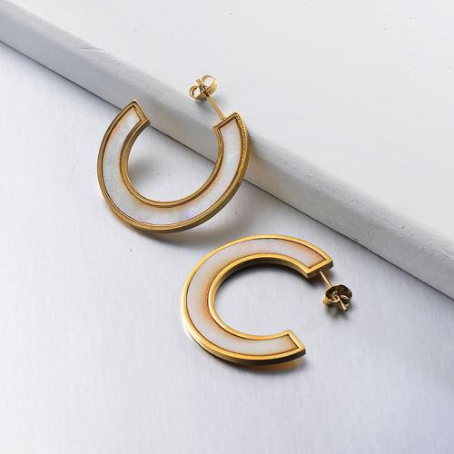 Pendientes plateados oro del aro del acero inoxidable de la moda del diseño de la joyería con la gema blanca