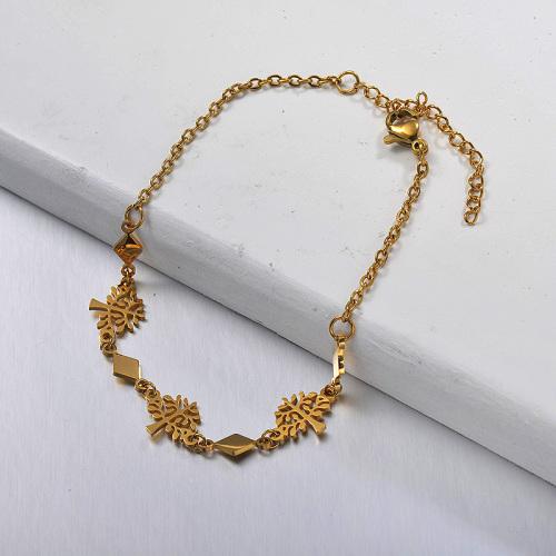 Brazalete de acero inoxidable dorado con árbol de la vida y paralelogramo separado