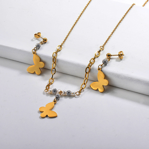 Juegos de Collar de Mariposa de Acero Inoxidable -SSCSG142-29618