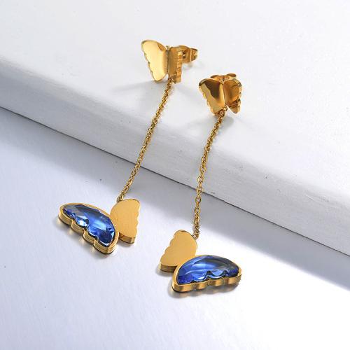 Pendientes Gota Mariposa de Acero Inoxidable -SSEGG142-29667