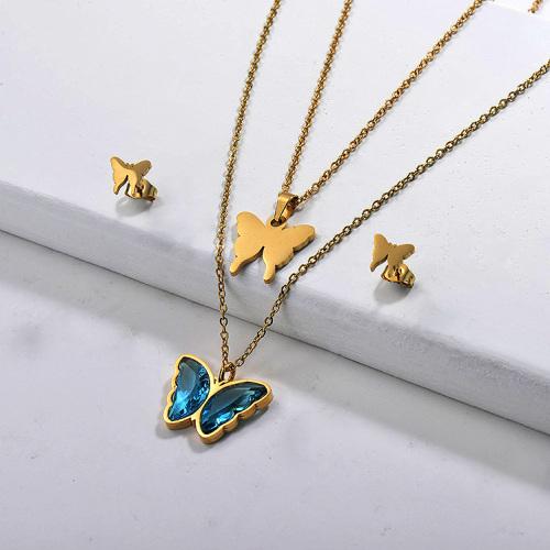 Conjuntos de collares multicapa de mariposa de acero inoxidable -SSCSG142-29562