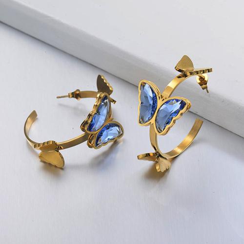 Boucles d'oreilles manchette papillon en acier inoxydable -SSEGG142-29662