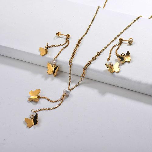 Juegos de Collar de Mariposa de Acero Inoxidable -SSCSG142-29597
