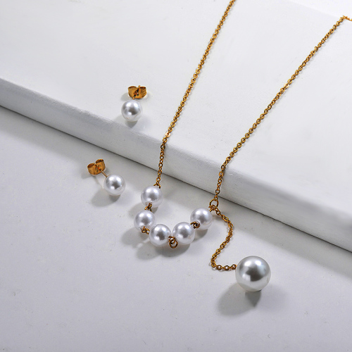 Juegos de Collar de Perlas de Acero Inoxidable -SSCSG142-29607
