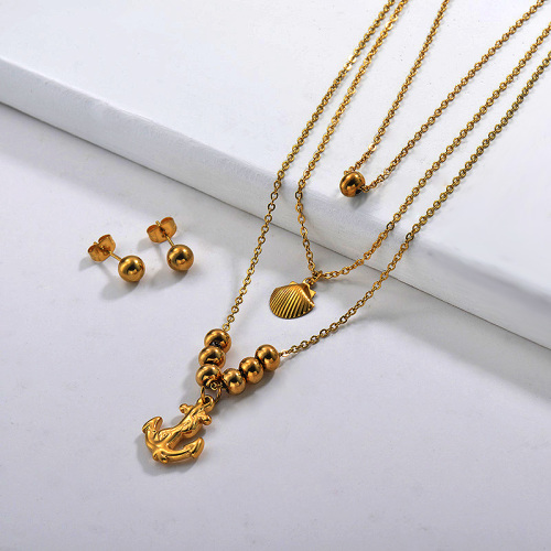 Conjuntos de collar multicapa de acero inoxidable -SSCSG142-29560
