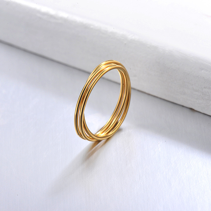 Gold Plated Dainty Band Rings Sets for Girls