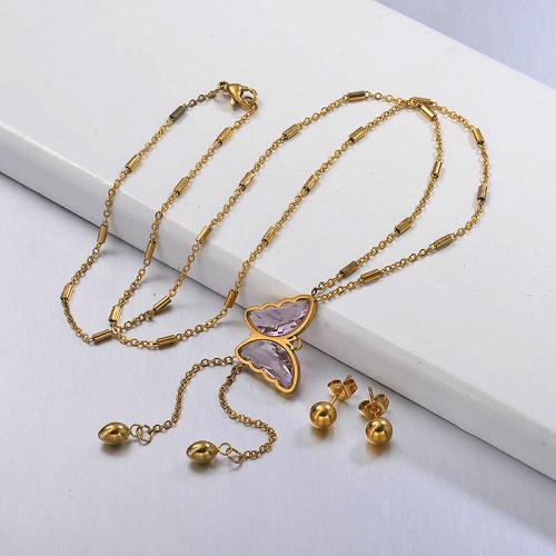 Conjuntos de collar de mariposa Larit en forma de Y