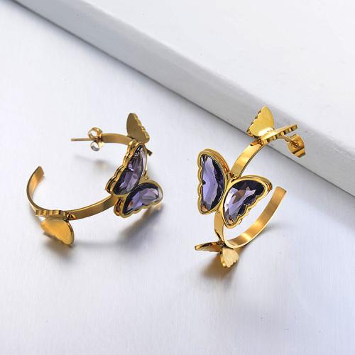 Pendientes Brazalete Mariposa de Acero Inoxidable -SSEGG142-29661