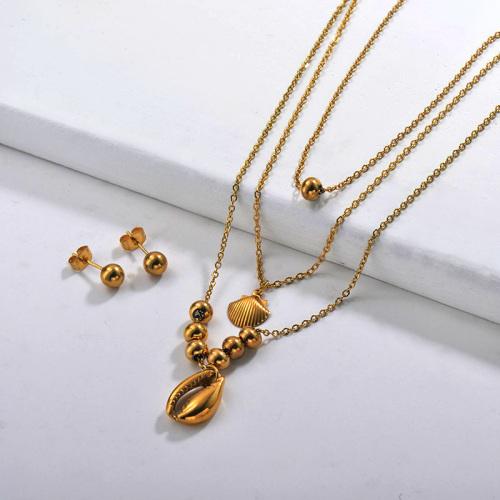 Conjuntos de collar multicapa de acero inoxidable -SSCSG142-29559