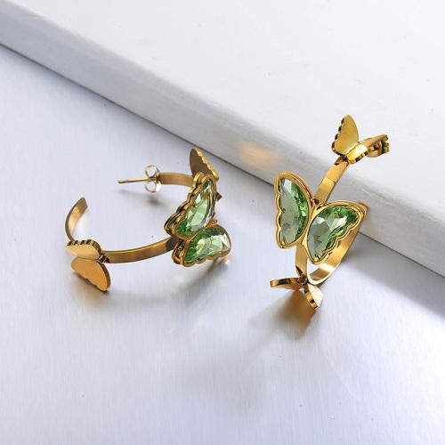 Boucles d'oreilles manchette papillon en acier inoxydable -SSEGG142-29656