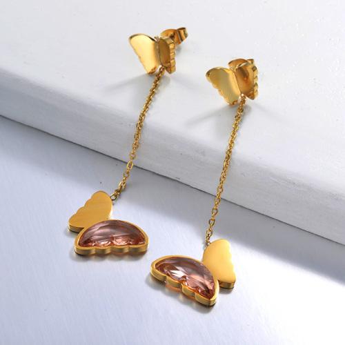 Pendientes Gota Mariposa de Acero Inoxidable -SSEGG142-29674