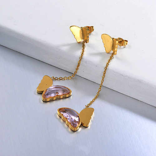 Pendientes Gota Mariposa de Acero Inoxidable -SSEGG142-29670