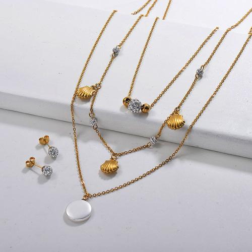 Conjuntos de collar multicapa de acero inoxidable -SSCSG142-29614