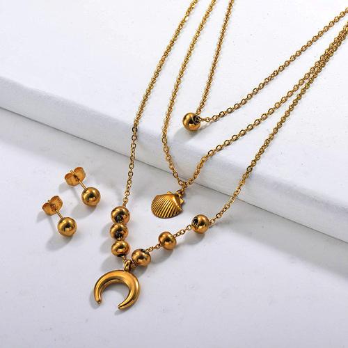 Conjuntos de collar multicapa de acero inoxidable -SSCSG142-29561