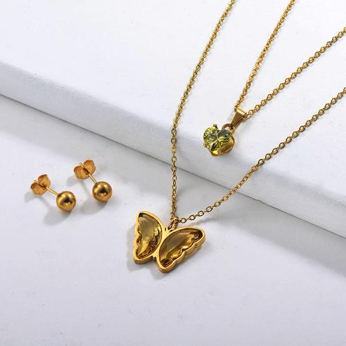 Conjuntos de collares multicapa de mariposa de acero inoxidable -SSCSG142-29555