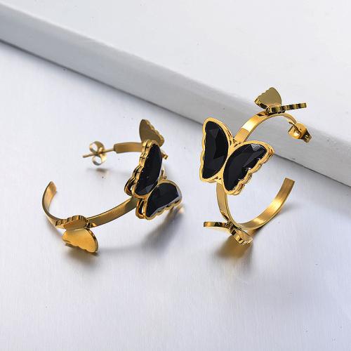 Boucles d'oreilles manchette papillon en acier inoxydable -SSEGG142-29663