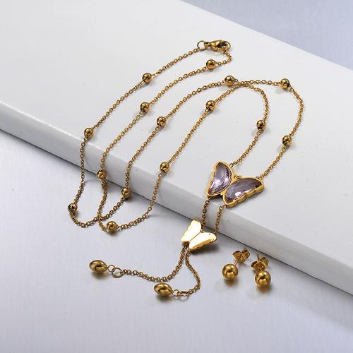 Conjuntos de collar largo de mariposa Larit en forma de Y