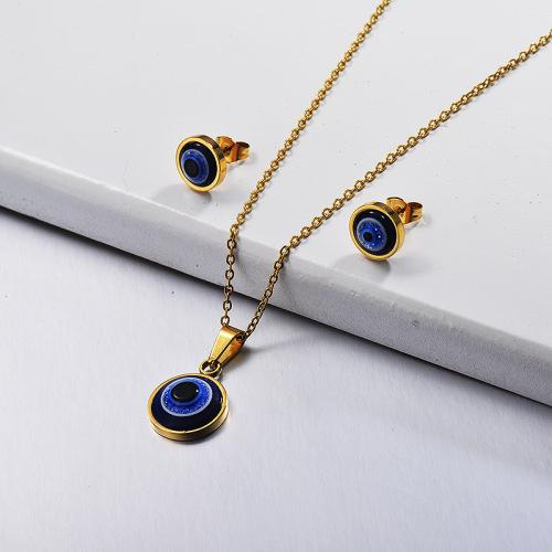 Conjuntos de joyas de mal de ojo de acero inoxidable