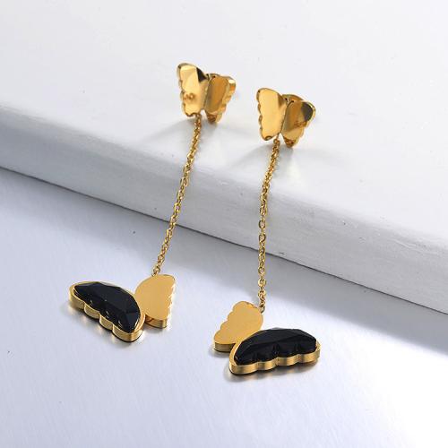 Pendientes Gota Mariposa de Acero Inoxidable -SSEGG142-29666