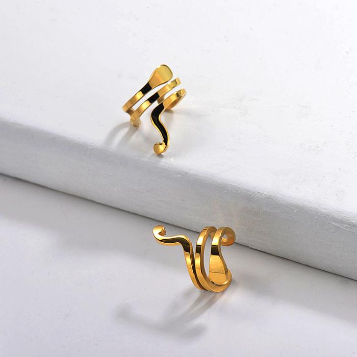 Boucles d'oreilles manchette en acier inoxydable -SSEGG143-29651