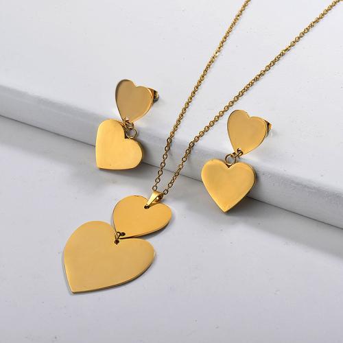 Conjuntos de collar de corazón multicapa de acero inoxidable -SSCSG142-29571