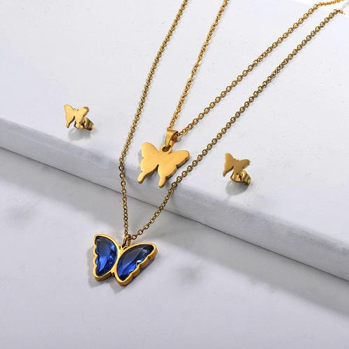 Conjuntos de collares multicapa de mariposa de acero inoxidable -SSCSG142-29570